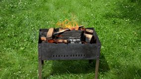 Vue des langues du feu dans le barbecue de jardin clips vidéos
