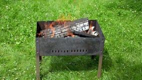Vue des langues du feu dans le barbecue de jardin banque de vidéos