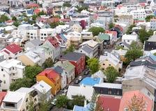 Vue des maisons colorées de Reykjavik du centre Photos libres de droits
