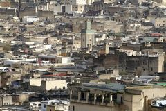 Vue des maisons de la Médina de Fez au Maroc Image libre de droits