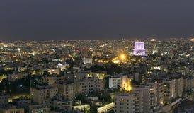 Vue des montagnes d'Amman la nuit Image libre de droits