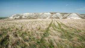 Vue des montagnes de craie dans la vallée de Don River, parc de Donskoy Images stock