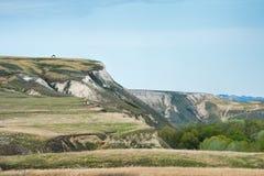 Vue des montagnes de craie dans la vallée de Don River, parc de Donskoy Image stock