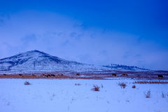 Vue des montagnes de l'hiver Photos stock