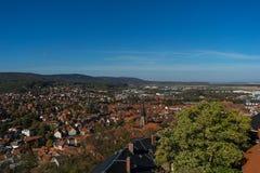 Vue des palais Wernigerode à la ville photo stock