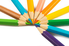 Vue des pensils multicolores d'isolement image libre de droits