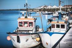 Vue des petits ports de p?che de Tavira, Portugal image libre de droits