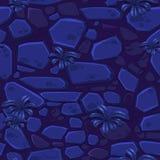 Vue des pierres bleues au néon de texture sans couture ci-dessus de fond et de l'herbe de fantaisie Illustration pour l'élément d illustration libre de droits