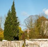 Vue des pierres tombales dans un cimetière bavarois Photo stock