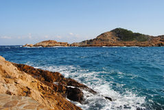 Vue des plages de la côte Brava de Begur Image libre de droits