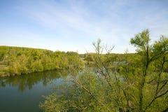 Vue des rivages de rivière et de forêt Images libres de droits