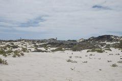Vue des sables blancs de Caleta de Mojon Blanco Photo stock