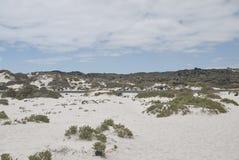 Vue des sables blancs de Caleta de Mojon Blanco Photos libres de droits