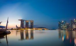 Vue des sables de Marina Bay au lever de soleil à Singapour Photos libres de droits