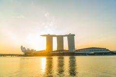 Vue des sables de Marina Bay au lever de soleil à Singapour Image stock