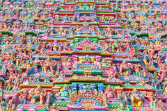 Vue des sculptures sur la tour au temple de sarangapani, Tamilnadu, Inde - 17 décembre 2016 Photos stock