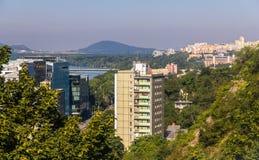 Vue des secteurs résidentiels de Bratislava, Slovaquie Photo stock