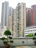 Skycrapers à Hong Kong avec des bonsaïs Photo stock