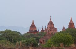 Vue des temples dans la plaine de Bagan Photo libre de droits