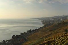 Vue des terrasses de Lavaux, lac Léman, Suisse photographie stock libre de droits