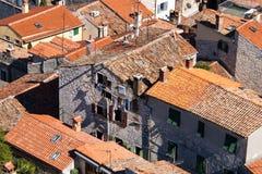 Vue des toits de dévastation et de désolation Image libre de droits