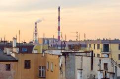 Vue des toits de ville le soir Wroclaw, Pologne photo stock