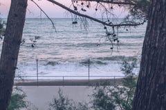 Vue des vagues le soir au coucher du soleil Littoral Plage storm image libre de droits