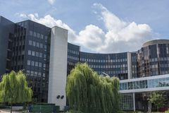 Vue du bâtiment du Parlement européen à Strasbourg France images stock