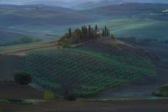 Vue du belvédère à l'aube La Toscane, Italie photo libre de droits