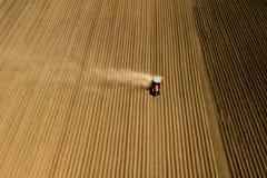 Vue du blé, des gisements de graine de colza et des colis agricoles Photos stock