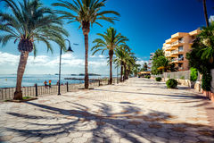 Vue du bord de mer d'Ibiza Images stock