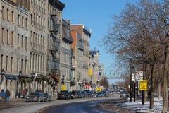Vue du bord de mer de vieux Montréal, Québec, Canada en hiver Image stock