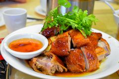 Vue du canard rôti par style chinois images stock