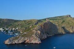 Vue du cap de Balaklava au Cembalo Genoese de forteresse image libre de droits