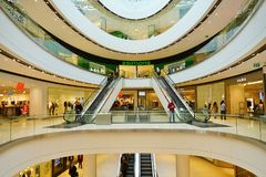 Vue du centre commercial de centre de Rideau à Ottawa du centre, Canada Photographie stock libre de droits