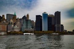 Vue du centre de Gudson de vue de ciel de Manhattan Photographie stock libre de droits