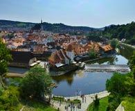 Vue du centre de ville médiéval dans Cesky Krumlov photos libres de droits