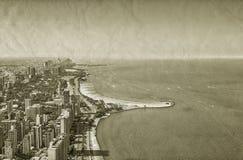 Vue du centre de vintage de Chicago illustration stock