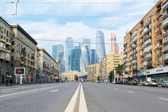 Vue du centre international d'affaires de Moscou Images libres de droits