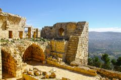 Vue du château d'Ajloun photos stock