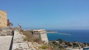 Vue du château historique d'Ibiza Espagne montrant l'architecture historique et les ruines image libre de droits