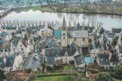 Vue du Chateau de希农/卢瓦尔河流域 免版税库存图片