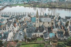Vue du Chateau de Chinon / Loire Valley. Vue du Chateau de Chinon dans la Vallée de la Loire. Castle of the Loire Valley royalty free stock image