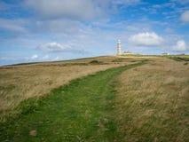 Vue du chemin menant au phare sur l'île de Lundy Photos libres de droits