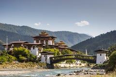 Vue du Dzong dans Punakha Bhutan Photos stock