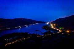 Vue du fleuve Columbia la nuit de Rowena Crest Overlook, images libres de droits