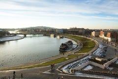 Vue du fleuve Vistule au centre de la ville historique La Vistule est la plus longue et plus grande rivière en Pologne Photo stock