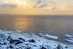 Vue du golfe de Finlande Parc du 300th anniversaire de St Petersburg dans le wiinter St Petersburg, Russie photos libres de droits