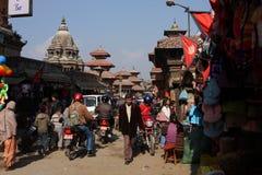 Vue du grand dos de Durbar, Patan Photographie stock libre de droits