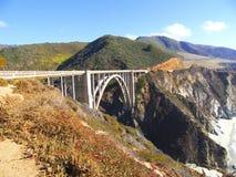 Vue du grand littoral de Sur, passerelle de Bixby Images libres de droits